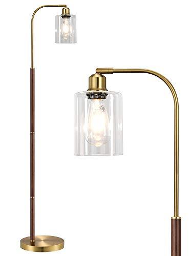 OYEARS Lámparas de pie para sala de estar industrial lámpara de piso para dormitorio con pantalla de cristal a juego vintage estilo...