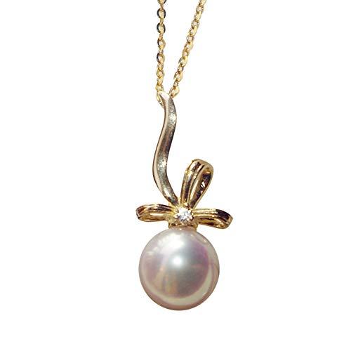 YUN Clock Blanco Perla Colgante para Mujeres Plata De Ley 925 / Oro De 18 Quilates Cadena Collar, Aniversario Joyas para Esposa Regalos para Madre/Novia,8~8.5mm,Chain~Silver