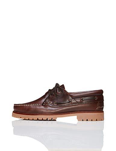 Marca Amazon - find. Zapatos de cuero de vela, Hombres, Marrón (Cognac), 42 EU