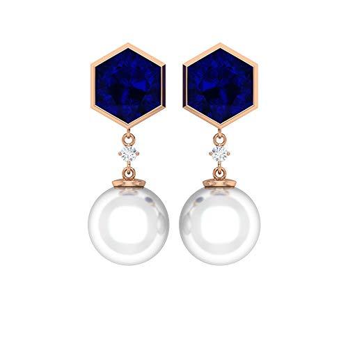 Rosec Jewels 14 quilates oro rosa redonda round-brilliant-shape Hexagon H-I Red White Diamond Zafiro azul creado en laboratorio. Perla de agua dulce