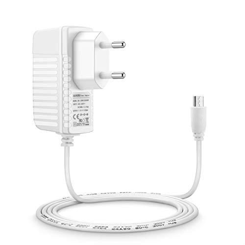 Aukru 5V Micro USB Cargador Fuente de Alimentación para Philips Avent Vigilabebés SCD 843, SCD 620/26, SCD 625/26, SCD 630/26 - Blanco