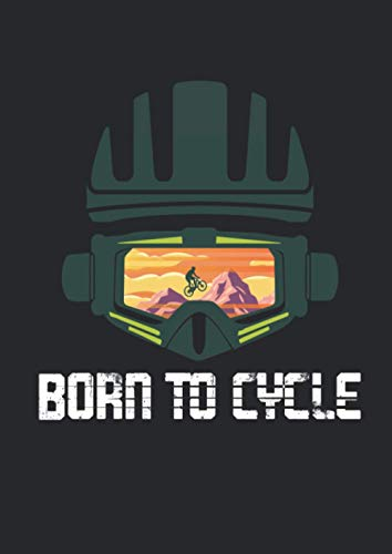 Notizbuch A4 punkte mit Softcover Design: Born to Cycle Fahrrad Rad Mountainbike Downhill MTB: 120 dotted (Punktgitter) DIN A4 Seiten
