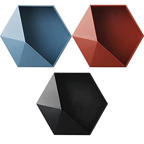 Hylulu 3 cestas de ducha sin agujeros, forma geométrica, estantería de pared combinada de plástico, se puede utilizar como decoración, adecuado para salón, dormitorio, baño, color rojo