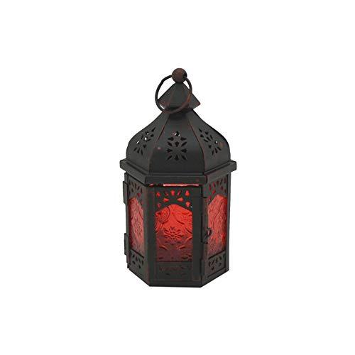 Rebecca Mobili Porta Candela Etnica, Lanterna da Interno Esterno, Metallo Vetro, Rosso Nero, Camera Terrazza - Misure: 17 x 9 x 8 (HxLxP) - Art. RE6562