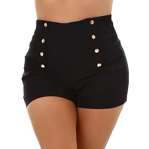Jela London Damen Hotpants High-Waist Stretch Kurze Shorts Deko-Elemente Slim sexy, Schwarz 36-38 (S/M)