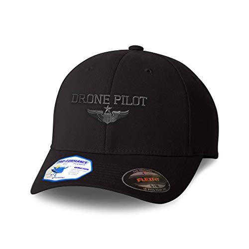 Flexfit Hats for Men & Women Drone Pilot Gray Embroidery Polyester Dad Hat Baseball Cap Black Large XLarge