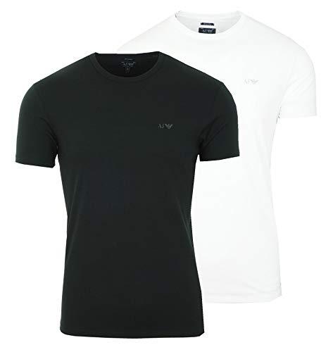 Armani Jeans 2er Pack 2 Stück Herren Men T-Shirt Kurzarm Logo (21BB Schwarz + Weiß, S)