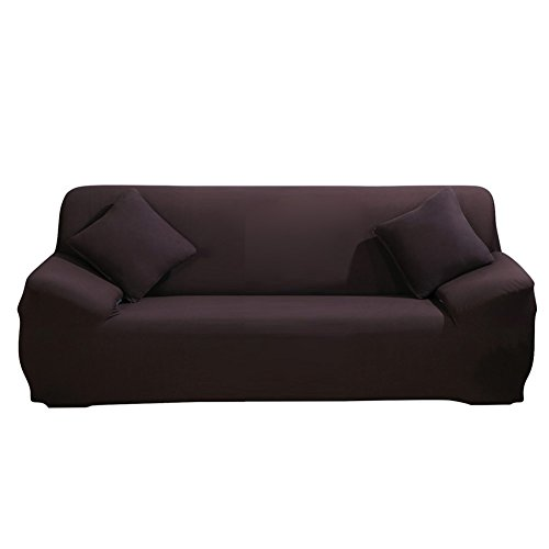 ele ELEOPTION Sofa Überwürfe Sofabezug Stretch elastische Sofahusse Sofa Abdeckung in Verschiedene Größe und Farbe Herstellergröße 195-230cm (Dunkelbraun, 3 Sitzer für Sofalänge 170-220cm)