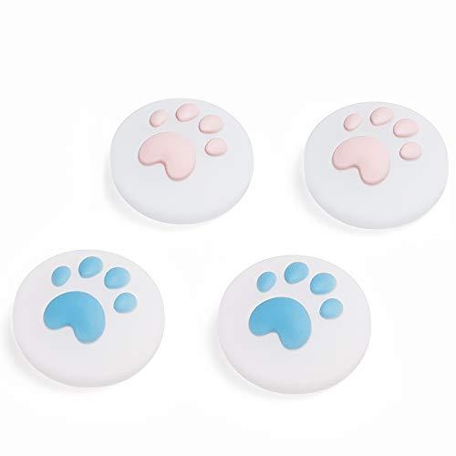 LeyuSmart Upgrade Transparente Katzenpfoten-Daumengriff, klare Silikon-Materialien, Joystick-Kappe für Nintendo Switch & Lite, weiche Abdeckung für Joy-Con-Controller, Daumenstick (Pink & Blau)