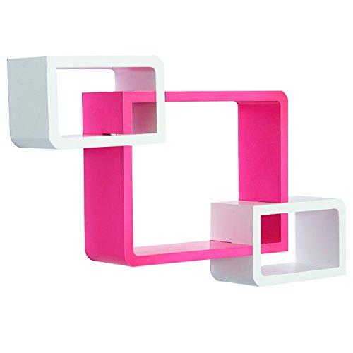 HOMCOM Wandregal Würfelregal Cube Regal mit 3 Fächern MDF Rosa