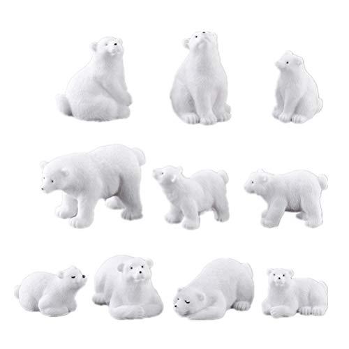 NUOBESTY 10pcs Miniature Polar Bear Figurines Ornaments Fairy Garden Decorations Party Favors