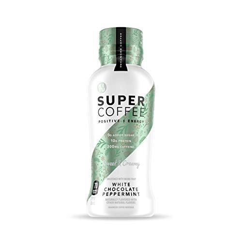Kitu Super Coffee, Iced Keto Coffee (0g Added Sugar, 10g Protein, 80 Calories) [White Chocolate Peppermint] 12 Fl Oz, 12 Pack | Iced Coffee, Protein Coffee Drinks - LactoseFree, SoyFree, GlutenFree