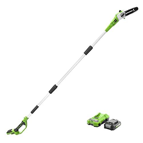 Greenworks de 24 V 20 cm Sierra de Poste , Velocidad de Cadena de 6,6 m / s, Longitud Hasta 2,4 m (con 2 Ah Batería y Cargador)