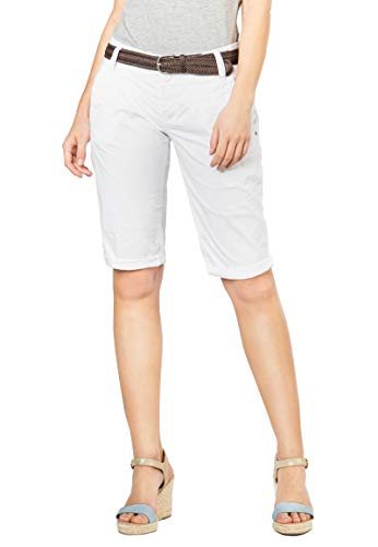 Fresh Made Basic Bermuda-Shorts im Chino Stil mit Gürtel White S