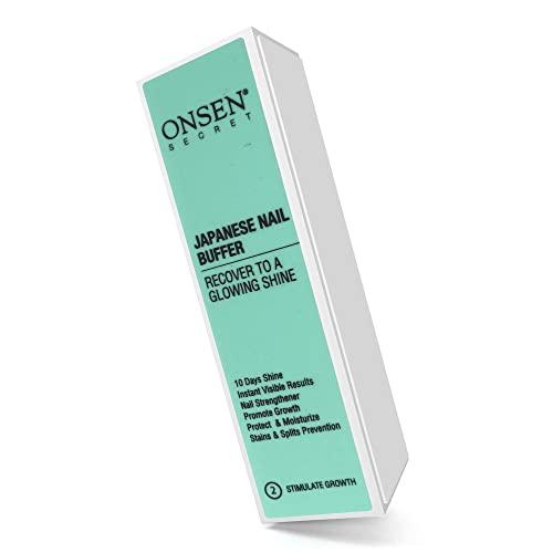 Onsen Professional Nail Buffer, bloque de pulido de uñas Ultimate Shine con métodos de pulido de 3 vías, lima de uñas suave y brillante después de Onsen, cuidado óptimo de las uñas