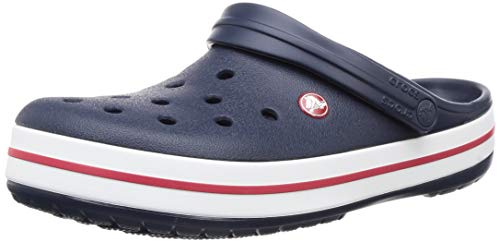 Crocs unisex-adult Crocband Clog | Comfortable Slip On Casual Water Shoe Navy Men's 12, Women's 14 Medium