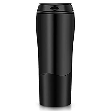 Comcl Spill Free Coffee Mug with Magic Sucker -16oz Innovative Won't Tip Over Travel Coffee Cup Tumbler Mug with Splash Proof Lid - Great for Home, Office, School, Ice Drink, Hot Beverage (Black)