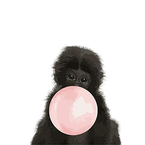 Ölgemälde Von Nummer Für Erwachsene Kinder Und Anfänger,Monkey Bubble Schönes Kind Diy Digital Malen Nach Zahlen Moderne Wand Kunst Leinwand Gemälde Einzigartiges Geschenk Home Dekor 40 X 50 Cm