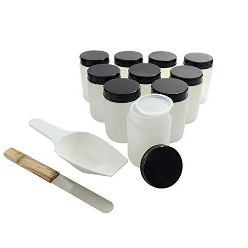 KENZIUM - Kit de 10 Frascos de Cuello Ancho con Tapa y Obturador de 250 ml, Espátula + Pala de Medición de Laboratorio + Botellas de Boca Ancha Con Tapón de Rosca
