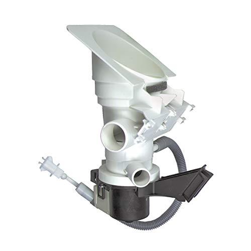 Bauknecht / Whirlpool Ablaufpumpe, Laugenpumpe, Magnettechnikpumpe mit Pumpenstutzen und Filter für Waschmaschine - 481231028144, 481231018458