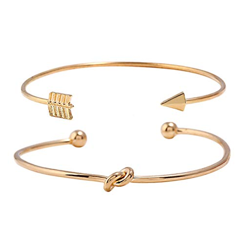 WOVP Armband 2 Stücke Vintage Gold Farbe Krawatte Knoten Armband Armreifen Einfache Twist Manschette Offene Armreifen Für Frauen Damen Schmuck Modeschmuck