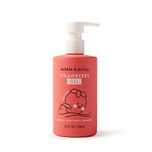 Dabble & Dollop Strawberry Gel. Natural Bubble Bath, Body Wash & Shampoo for Kids - 10oz
