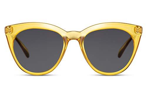 Cheapass Gafas de Sol Redondas Grandes Ojo de gato Mariposa Moderno Estilo Transparente Amarillas para Mujeres Protección UV400