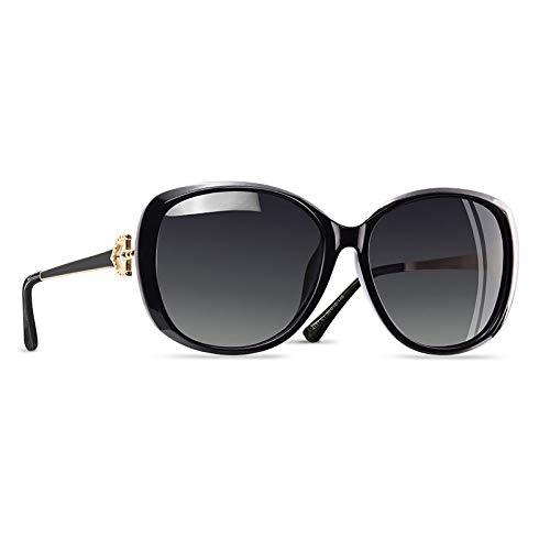 YNJZ Gafas de sol polarizadas para mujer de lujo 2020 Gafas de sol para mujer Gafas de sol con rhinestone para mujer Gafas UV400, C1 Negro