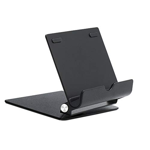 Juntan Adjustable Aluminum Alloy Tablet Stand Holder 360-Degree Rotatable Black Holder Dock Compatible with iPhone Samsung Galaxy Android Smartphone iPad Office Surface and More