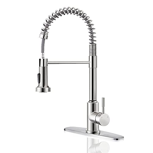 Kitchen Spring Faucet with Pull Down Sprayer,ARRISEA Single Handle Stainless Steel Kitchen Sink Faucet with Three Setting Pull Out Sprayer, Brushed Nickel Kitchen Taps with Deck Plate …