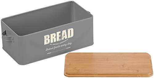 Rosenstein & Söhne Brotbox: Retro-Brotkasten aus Stahlblech mit Bambus-Schneidebrett-Deckel, 7 l (Brotkasten Bread)