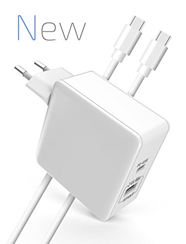 Elegear Power Delivery lader USB C voeding (45W PD 3.0 & Quick Carge 3.0 & 12W Smart Charge 12 V/2,4 A) USB Type C snellader voor Apple MacBook Pro, iPhone X / 8 / 8 Plus, iPad, Dell XPS, Nintendo Switch, Huawei P10, Samsung Note 8 / S9 / S9+, HTC, Google Pixel, Lenove, Quick Charge 3.0 oplader