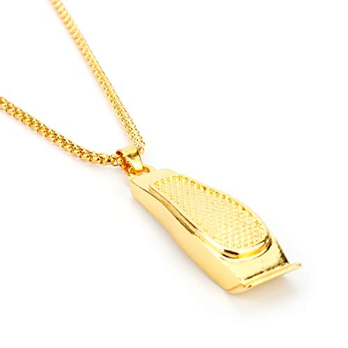 ZYLL Kreative Barber Anhänger Halskette Mode 3D Barber Rasiermesser Gold Rasiermesser Anhänger Halskette