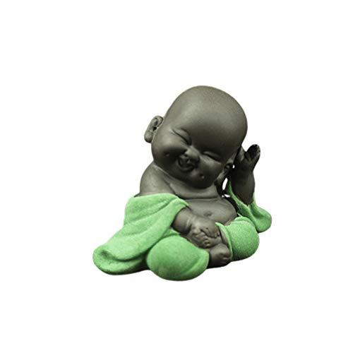 HEALLILY - Estatua decorativa de Buda, figura de bebé sonriente, color naranja