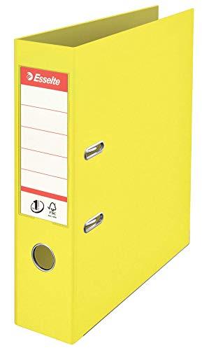 Esselte 626502 - Archivador de Palanca Plástico Forrado Colour'Ice Nº1 con Rado y Ojete Din A4. Lomo 75 mm Color Amarillo