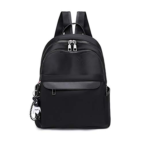 LIDIWEE Womens Backpack College Bookbag PU Leather Waterproof Oxford Shoulder Bag with Headphone Hole School backpack Rucksack Work Daypack Black