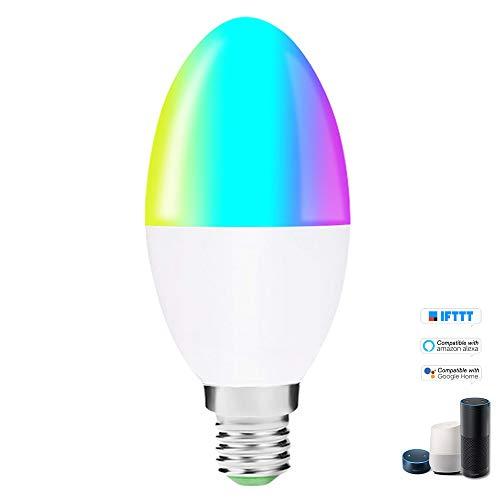 OWSOO Smart WiFi LED-lamp V16-S, RGB + W LED-kaarslamp 6W E27, dimbaar licht telefoon afstandsbediening groepsbesturing, compatibel met Alexa Google-startpagina Tmall Genie spraakbesturing gloeilamp E14
