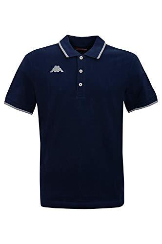 Kappa - Polo da uomo, set con numero di pezzi selezionabile 100% cotone piqué con strisce a contrasto sul colletto. 1 blu navy. XL