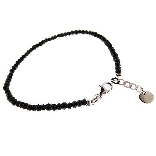 Gioielli Aurum - Pulsera para hombre y mujer de plata con bolas de espinela negra.
