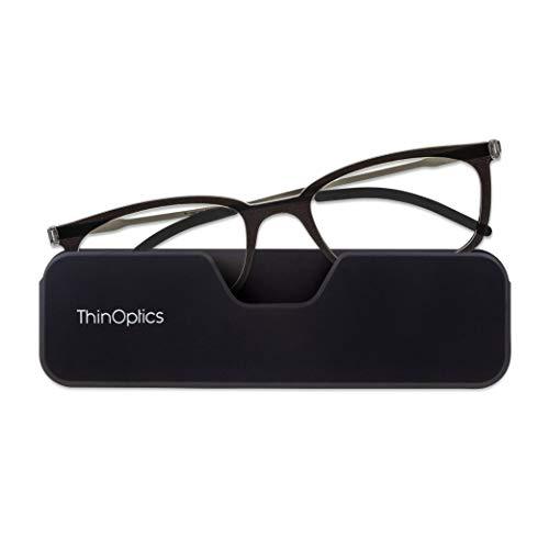 ThinOptics FrontPage Connect Rectangular Reading Glasses, Black, 2