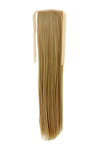 WIG ME UP ® - YZF-TS18-86 Haarteil ZOPF Blond glatt 45cm Band Haar Klammer Haarverlängerung