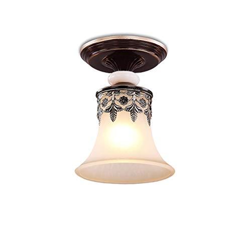 Iluminación de Techo de Interior Hierro forjado Lámpara de la vendimia redonda de techo, pantalla de cristal de jade imitación, sala de estar de la lámpara del techo del estudio del dormitorio, pastor