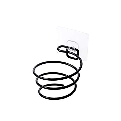 bobeini Soporte para secador de Pelo de Metal Adhesivo montado en la Pared secador de Pelo en Espiral Estante para Colgar Organizador de soplador para baño peluquería Negro