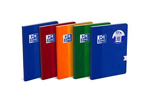 Oxford Schulheft 400059351 A5, 96 Blätter, kariert, 5 Stück-Packung, Farbenmix
