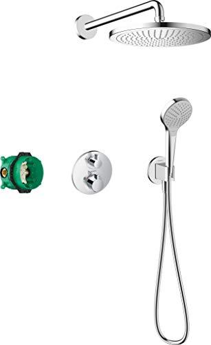 hansgrohe Duschset Croma E Unterputz (6 in 1), Duschsystem mit Kopfbrause, Duschthermostat, Duschkopf, Duschschlauch inkl. Grundkörper und Halterungen, Chrom