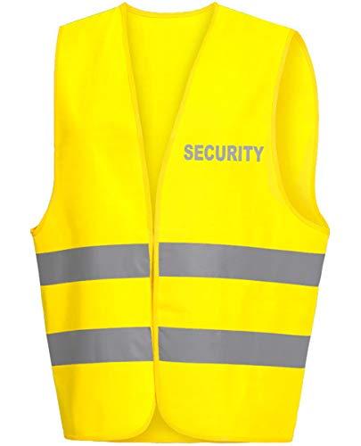 R&K Warnweste/Warnschutzweste/Securityweste gelb, REFLEX-DRUCK auf BRUST und RÜCKEN mit SECURITY (reflektierend)