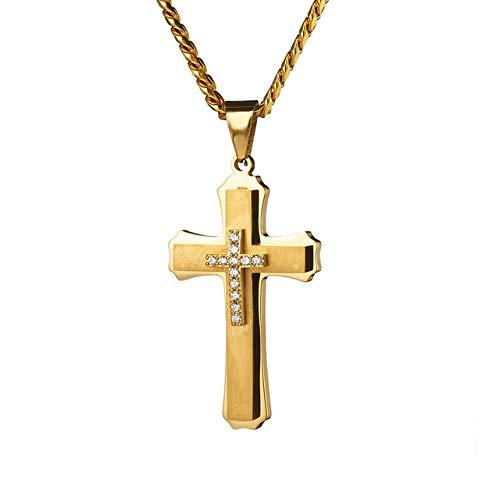 xtszlfj Collar de Moda Hip Hop Hombres Acero Inoxidable Cadena de Oro Cruz Colgante Rapero de Lujo Regalo joyería para Las Mujeres