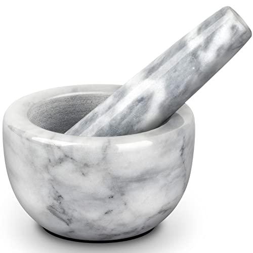 Tera Mörser mit Stößel 1/8L Kapazität Mini & Exquisit aus marmor mit rutschfestem Pad Weiß