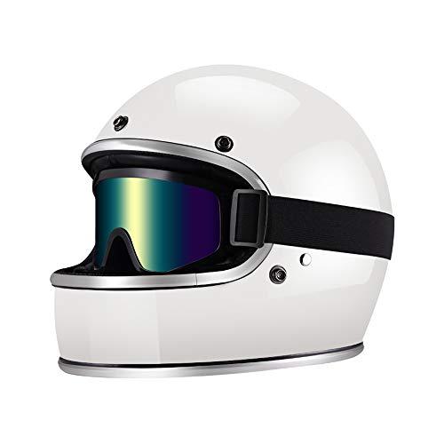 Youth Harley Motorcycle Retro Helmet Goggles Best FRP Novelty Cool Full Covered Locomotive Boy Girl Riding Helmet DOT Certified Goggles White Helmet,S