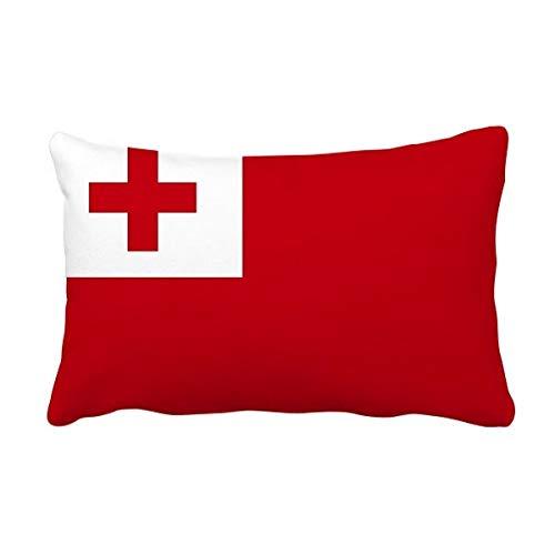 DIYthinker Tonga National Flagge Ozeanien Land Werfen Lumbar Kissen Kissenbezug Startseite Dekor-Geschenk 16 Zoll x 24 Zolls Mehrfarbig